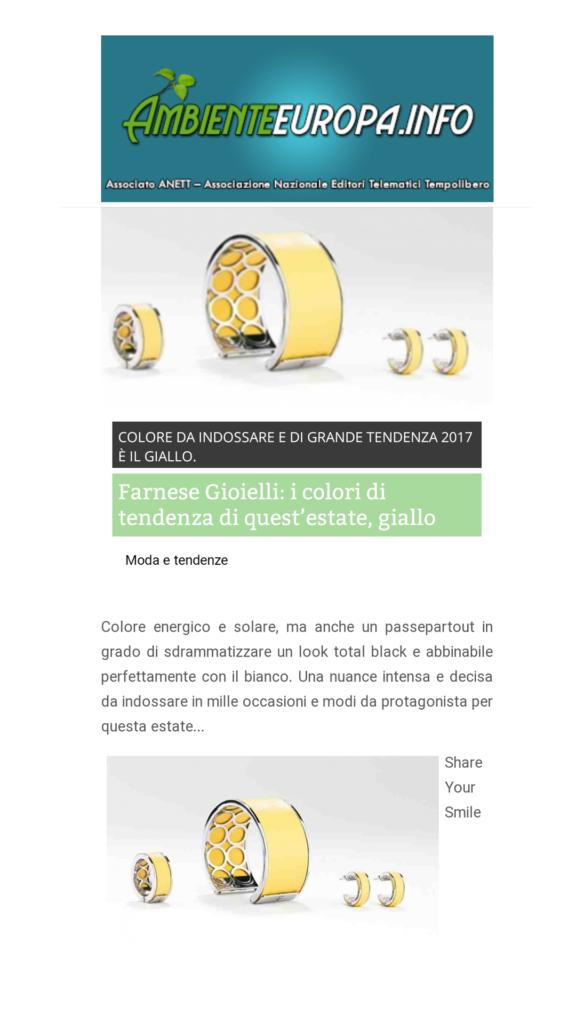 Farnese Gioielli - Ambiente Europa - Giugno 2017