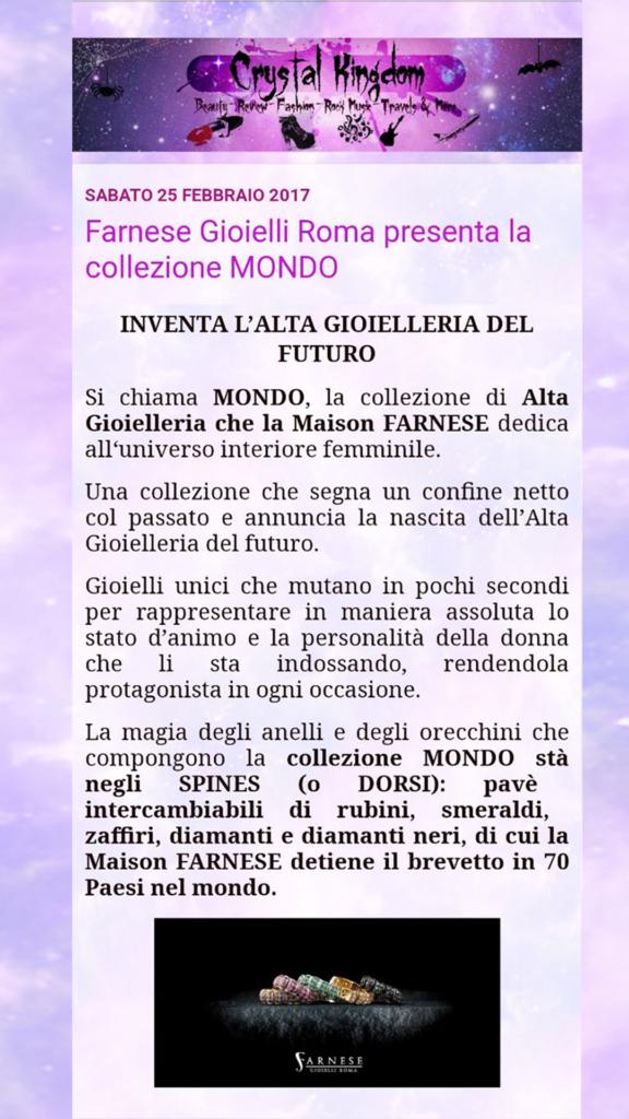 Farnese Gioielli - Crystal Kingdom Blog- Febbraio 2017