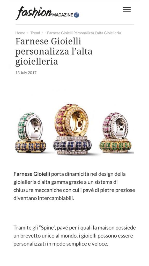 Farnese Gioielli - Fashion Magazine - Luglio 2017