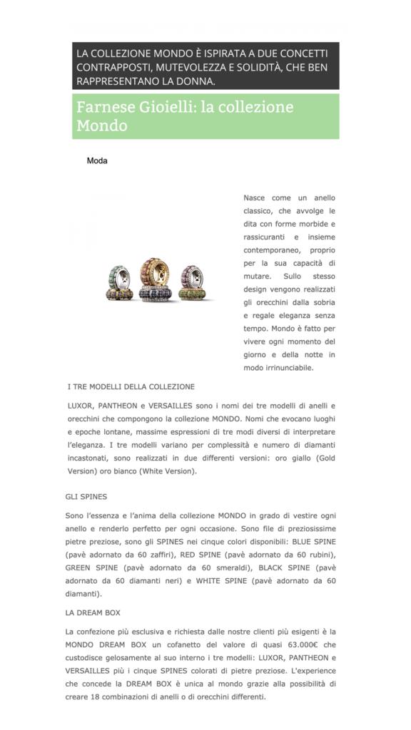Farnese Gioielli - Focus OnLine - Aprile 2017