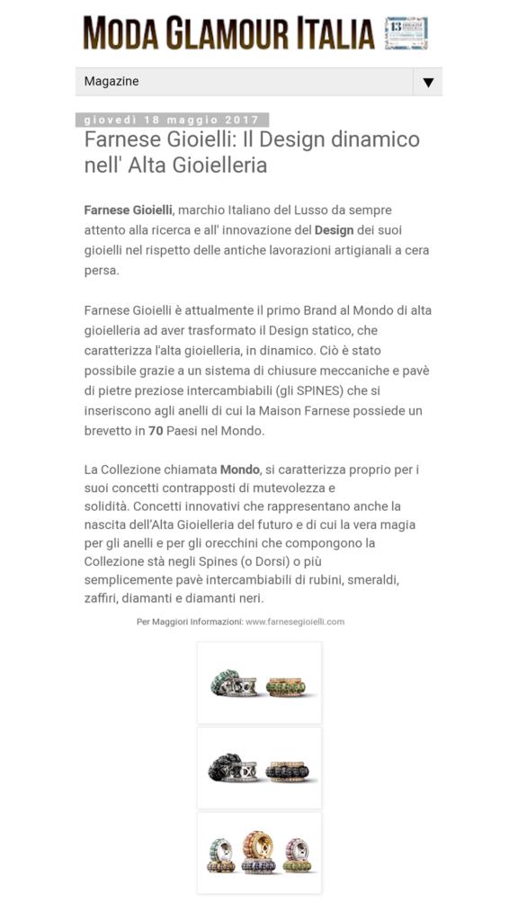 Farnese Gioielli - Glamour Italia - Maggio 2017