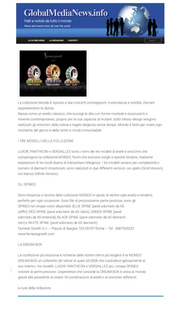 Farnese Gioielli - Global Media Info - Marzo 2017