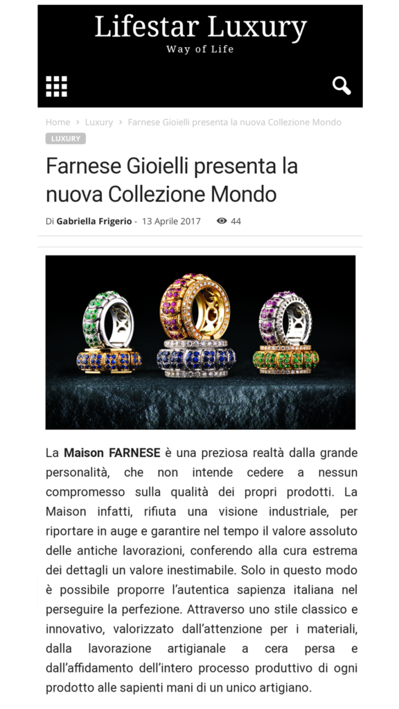 Farnese Gioielli - Lifestar Luxury - Aprile 2017