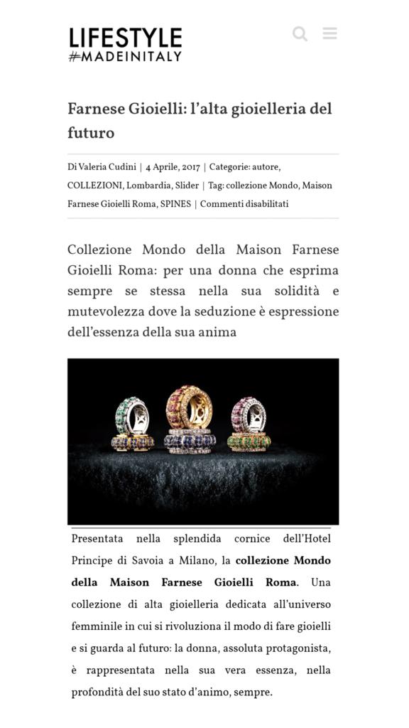 Farnese Gioielli - Lifestyle Made In Italy - Aprile 2017