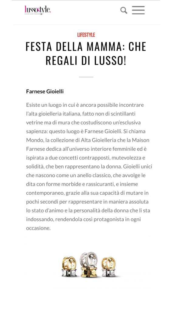 Farnese Gioielli - Lusso Style - Maggio 2017
