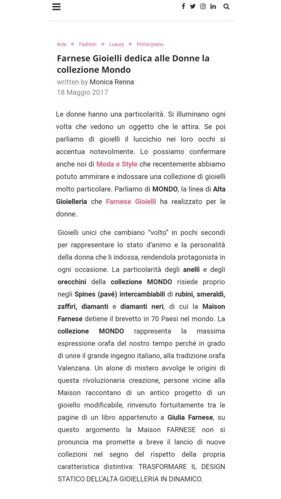 Farnese Gioielli - Moda e Style - Maggio 2017